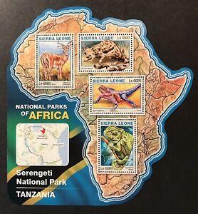 SIERRA LEONE WILD ANIMALS MAP SHAPED STAMPS SHT 2016 MNH SERENGETI NATIONAL PARK