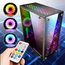 Gaming Computer PC Case ATX Mid Tower USB 3.0 W/ 3 RGB 120mm Cooling Fans Gifts