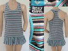 Roxy Girl Kleid XS 34 SommerMini Volant Tanktop Stretch Blau Weiss gestreift