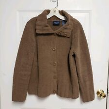 Crazy Horse Brown Button Front Cardigan Plush L Large