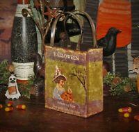 Primitive Antique Vtg Style Retro Halloween Witch Jack O Lantern Bag Tin Bucket