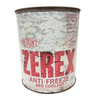 Vintage Zerex Dupont Anti Freeze empty Tin 1 gallon round Can Advertising