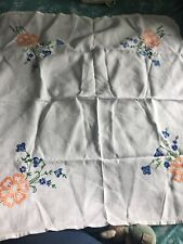 Small White Table Cloth Hand Embroidered Orange Blue Flowers