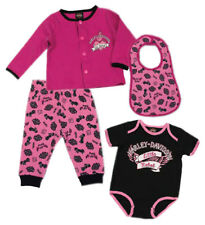 Harley-Davidson Baby Girls' Glittery 4 Pc Hanging Gift Set, Pink & Black 2500726