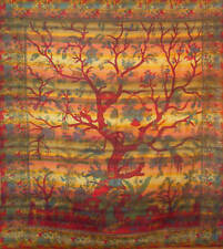 XL stripey cotton TREE OF LIFE king size BED SOFA table COVER spread bedspread!!