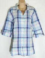 Women's Vintage ULLA POPKEN 3/4 Sleeve Blue Check Cotton Shirt Blouse UK24 UK26