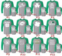 Customized St. Patricks Day Raglan Long Sleeve Shirts Text Name Number St Patty