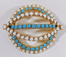 Unique Vintage Faux Turquoise & White Milk Glass High Dome Layered Brooch Pin