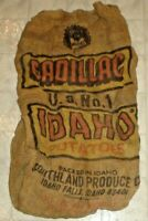 Vintage Cadillac U.S. No.1 Idaho Potatoes Burlap Sack, Bag Idaho Falls, Idaho X5