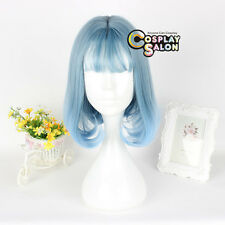 30cm Bob Lolita Mixed Light Blue Wavy Hair Cosplay Wig Heat Resistant Christmas