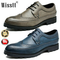 Men's Oxfords Brogue Leather Formal Casual Dance Lace up Wing Tip Wedding Shoes