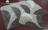 ROMANY GYPSY MICROFIBER WASHABLE RUGS 4pc SET, LARGE DOLCE BROWN/BEIGE/WHITE