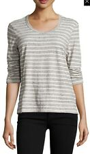 d910aa9a7 Womens James Perse 3/4 Sleeve Ruched Raglan Striped Tee Shirt Sz 4 XL