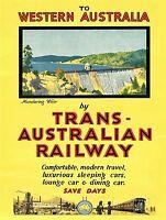 A1 SIZE POSTER TRAVEL  PRINT VINTAGE ART WA TRANS AUSTRALIAN RAILWAY