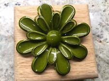 Enamel Metal Flower Pin Brooch Vintage Jewelry Olive Green Retro