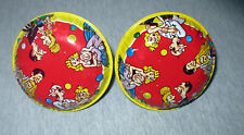 2 Vintage Cartoon People Tin Noisemakers Rattles New Years Holiday Celebration