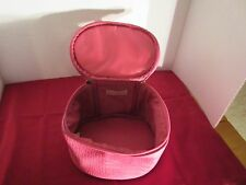 Pair of Pink plastic simulated leather cosmetic and jewelry zipper cases.