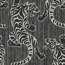 Oriental Glitter Tiger Theme Wallpaper Black Grey Silver M1102