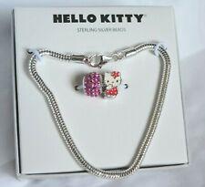 Hello Kitty Sterling Silver Crystal Beads & Bracelet Set New