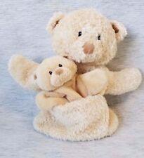 BABY GUND PLUSH TEDDY BEAR HAND PUPPET w/BABY BEAR in TEDDY'S POCKET  EUC