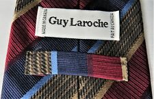 GUY LAROCHE Mens Tie Designer Luxury Canada Silk Gold Red Blue Striped EUC