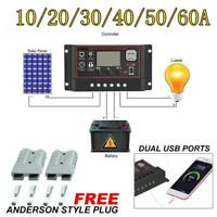 10-60A Solar Panel Controller Battery Charge Regulator 12/24V Auto With Dual USB
