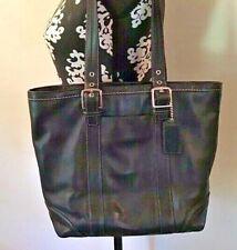 COACH Black Leather HAMPTONS Shoulder Purse Handbag Carryall Tote~  F12607