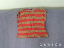 Womens Size 12 - Red & Beige Striped Short Sleeve Top - Atmosphere