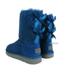 UGG Bailey Bow II Dark Denim Suede Fur Boots Womens Size 10 *NIB*