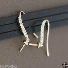 Genuine 18CT Solid Rose Gold & Genuine Diamonds Swan Hooks - 1 Pair