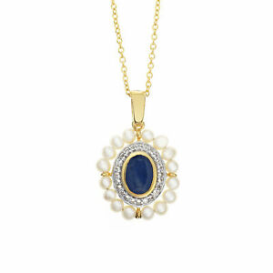 Diana' Sapphire & Pearl Pendant Necklace GP 925 Sterling Silver