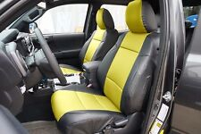 TOYOTA TACOMA 2016- BLACK/YELLOW LEATHER-LIKE CUSTOM MADE FIT FRONT SEAT COVER