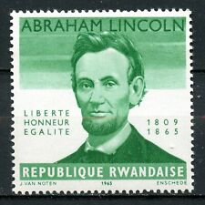 Rwanda, 1965, Scott #92,  ERROR, Rare, Missing Denomination, MNH, Abe Lincoln.