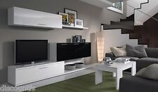 Aletta TV Media Entertainment Wall Unit with Storage Melamine Black on White