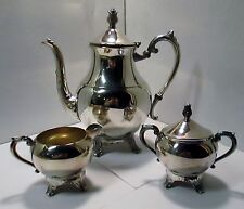 FB Rogers Silverplate Coffee/Tea Set Creamer Covered Sugar Tulip finial 3 pcs
