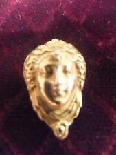 Beautiful Antique Art Nouveau 14k Ylw Gold Woman's Face with Diamond Pendant