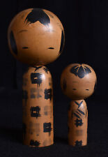 "15cm(5.9"")(Taller) Japanese Old Sosaku Kokeshi Pair Dolls : signed Bunkichi"