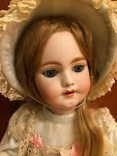 "Antique Bisque 20"" Simon Halbig SH German French Market Human Hair Pierced Ears"