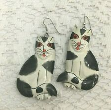 Estate Folk Art Hand-Painted Wood Cat Kitty Art-to-Wear Ooak Earrings Dangle
