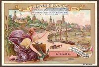 Elbe Dresden Germany Europe Art Nouveau 1898 Trade Ad Card