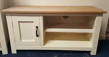SOLID WOOD PAINTED TV UNIT WITH OAK TOPS
