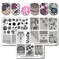 BORN PRETTY Square Nail Art Stamping Image Plates Template Flower Lace Bride
