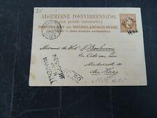 Nederland Indië briefkaart G 5 PADANG (kleinrond) - Den Haag over Marseille 1886