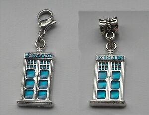 Dr Who Inspired Police Box Tardis Charm, choose European style/Clip On