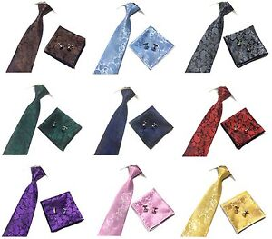 Mens Paisley Jacquard Silk Tie Set Cufflinks and Handkerchief  Wedding Gift Set