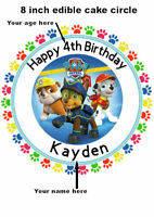 Personalised Paw Patrol Edible Birthday Cake Topper Ribbon and Cupcake Toppers
