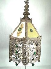 A WONDERFUL EARLY 20th CENTURY 6 SIDED PIERCED TIN FLORAL DECORATED CHANDELIER