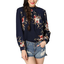 Womens Retro Vintage Long Sleeve Floral Chiffon Collar Blouse Office Tops Shirt