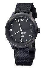 Mondaine MH1B1221NB Womens Black Dial Analog Quartz Watch With Nylon Strap