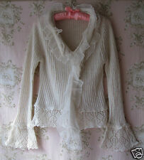 Rare! BOUTIQUE Cream Chiffon Lace Crochet Rib Knit V-Neck Flare Sleeve Jumper